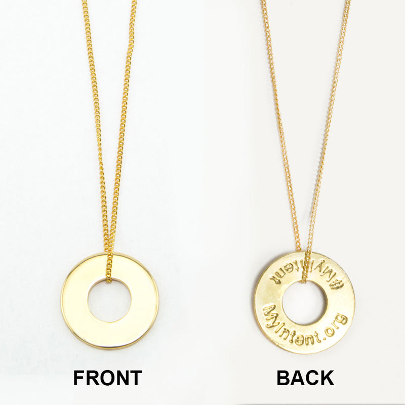 MyIntent Custom Dainty Necklace shows YOUR WORD on front and #MyIntent MyIntent.org on back of token