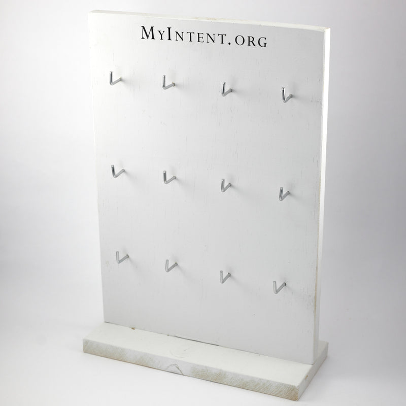 MyIntent solid wood white display board is designed to fit and hold the MyIntent Maker cards