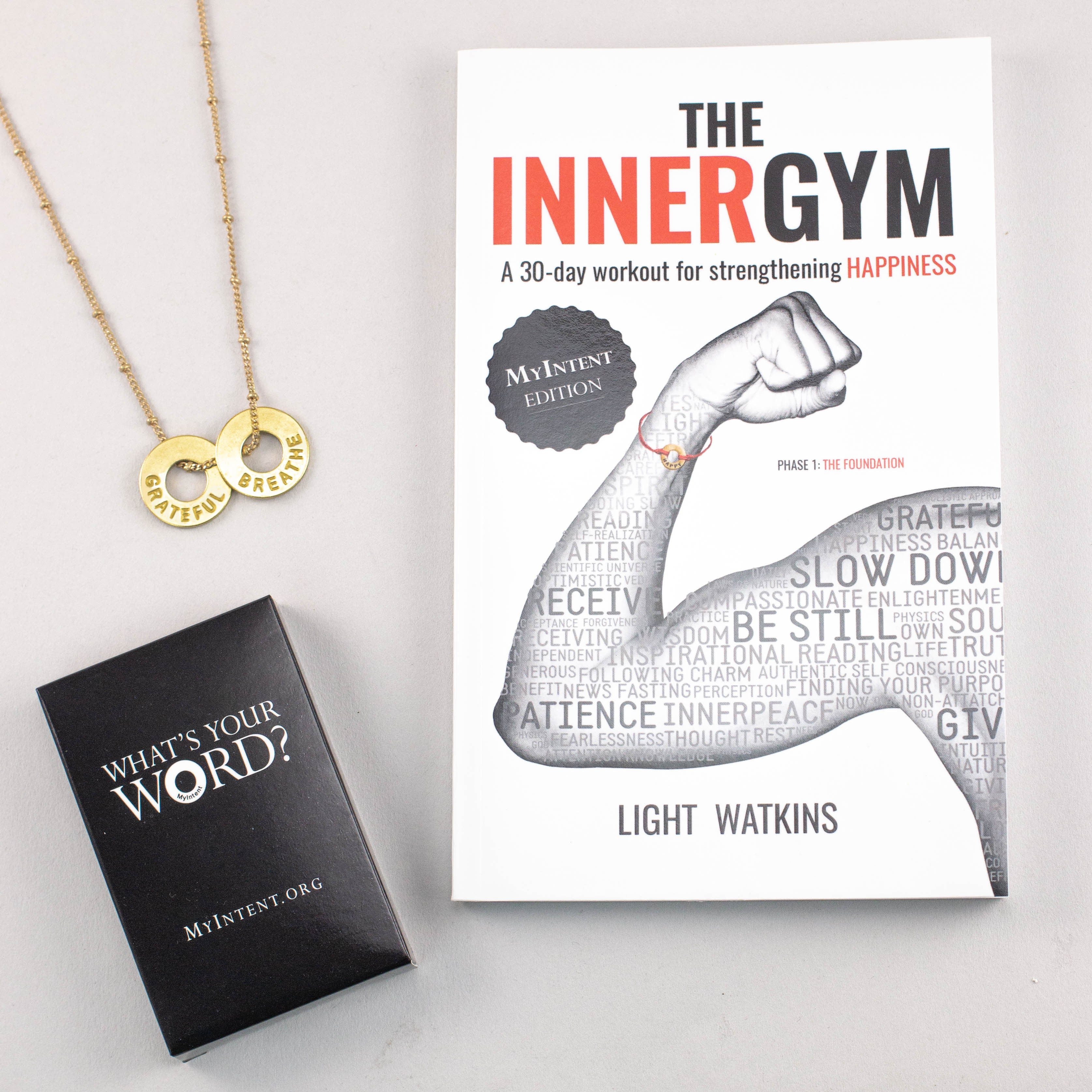 MyIntent Gratitude Pack includes Inner Gym book, 33 question cards, & either a necklace or bracelet
