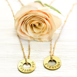 Matching MyIntent Custom Bead Necklace set of 2 Brass color with words I CHOOSE YOU & EVERYDAY