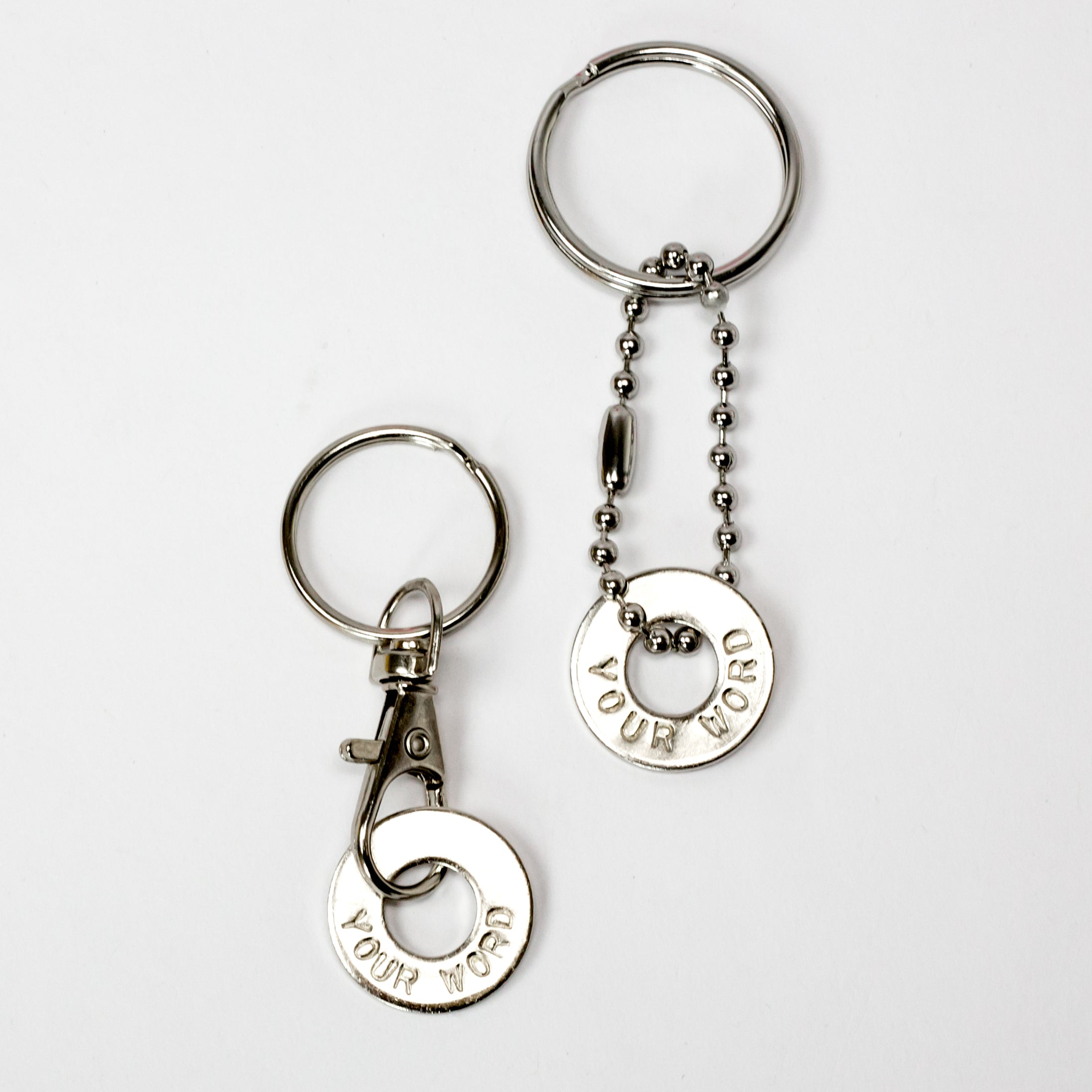 MyIntent Custom Clasp Keychain and Bead Keychain in Nickel