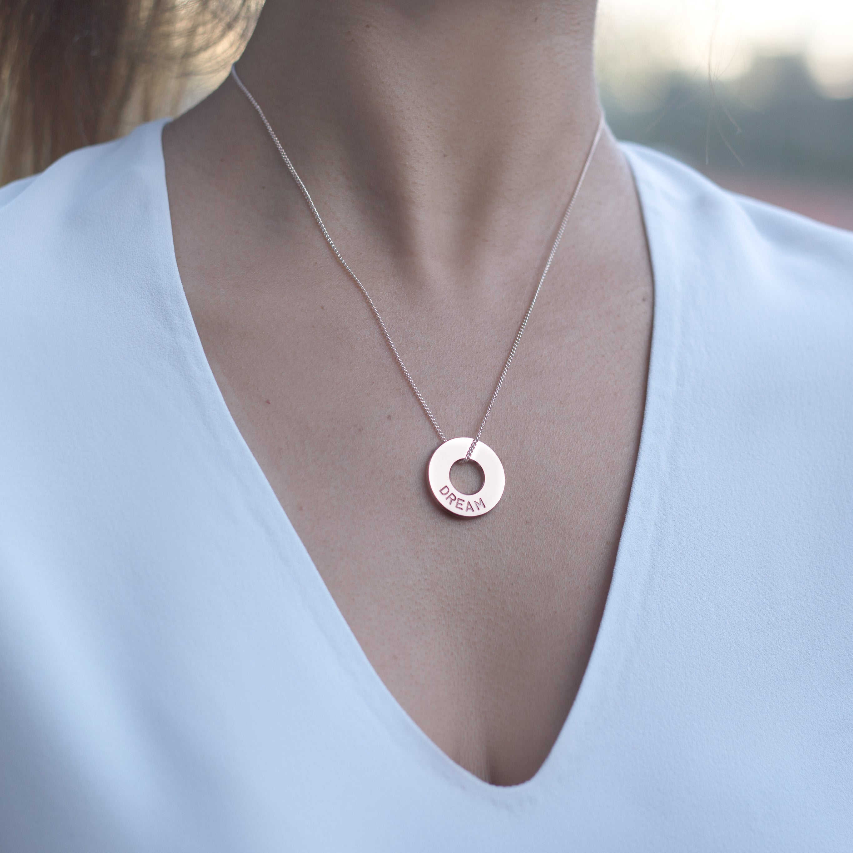 MyIntent Custom Dainty Necklace Rose Gold Plated Color with word DREAM