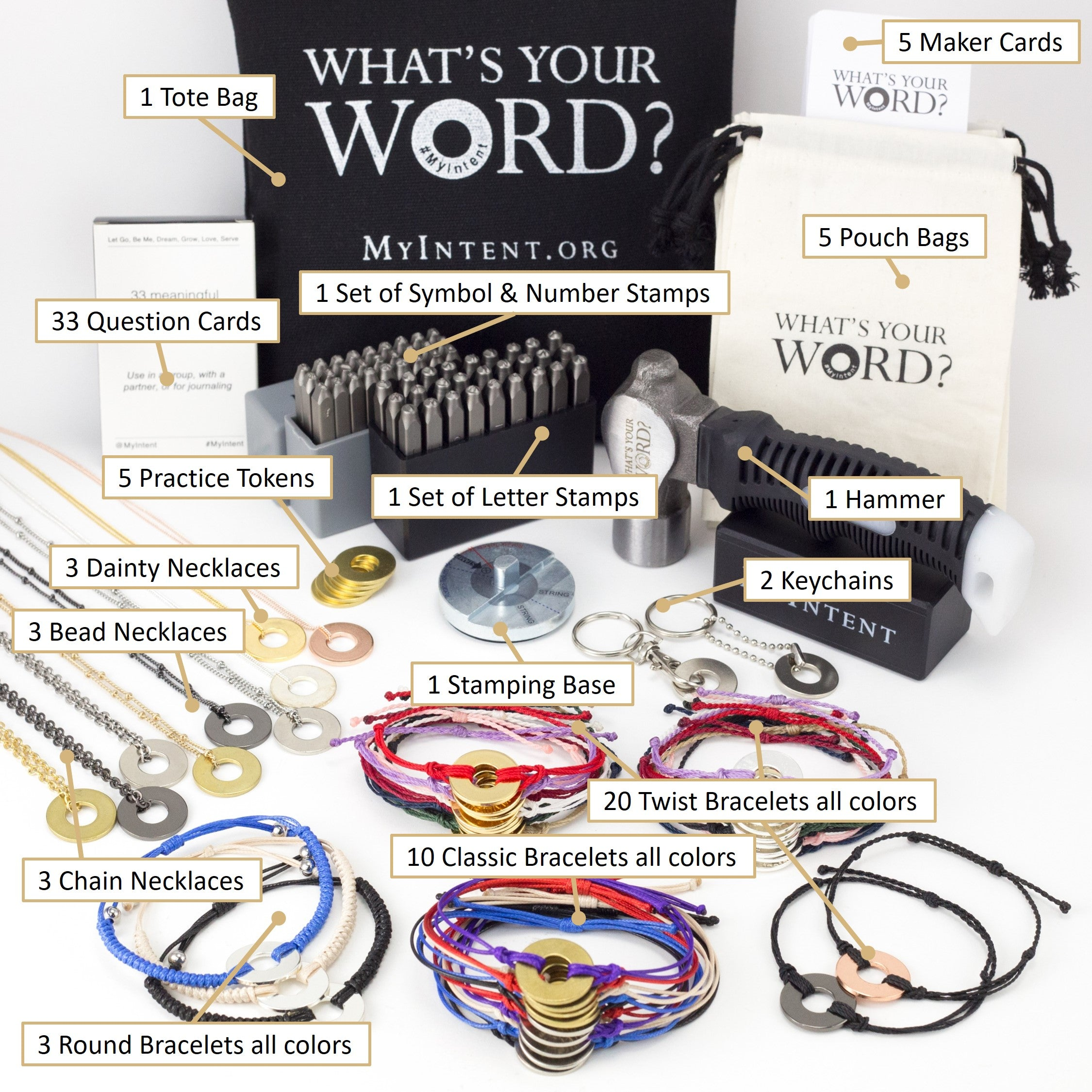 MyIntent Mega Maker Kit has all 33 bracelets, all 9 necklaces, and 2 nickel keychain & symbol stamps
