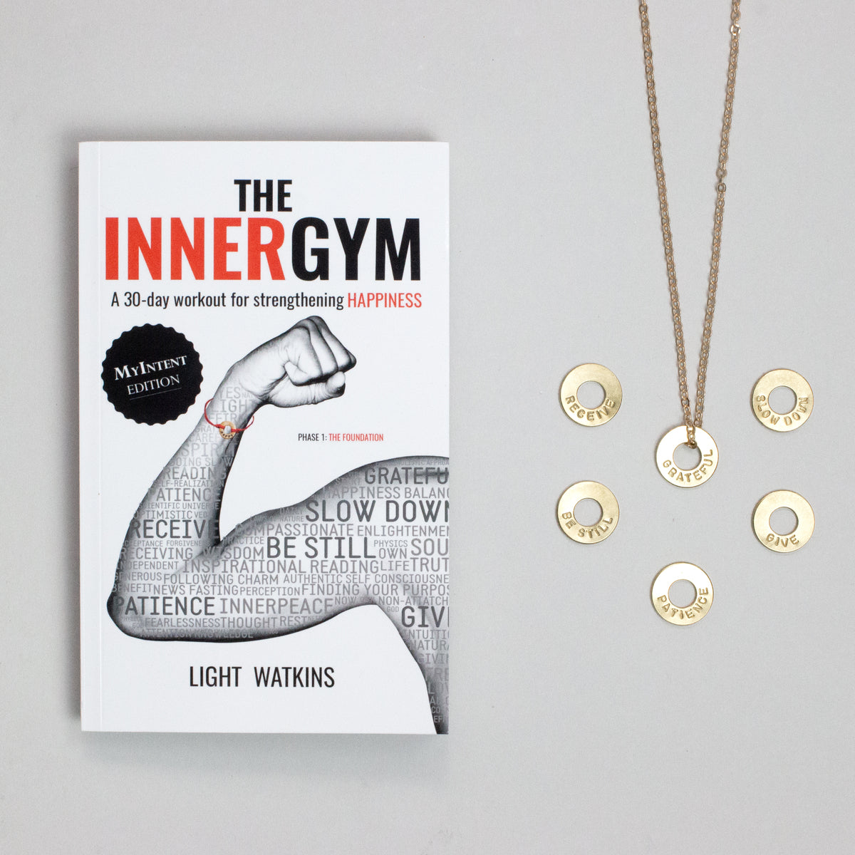 The Inner Gym bundle comes with bracelets or necklaces that correspond to each chapter's lessons