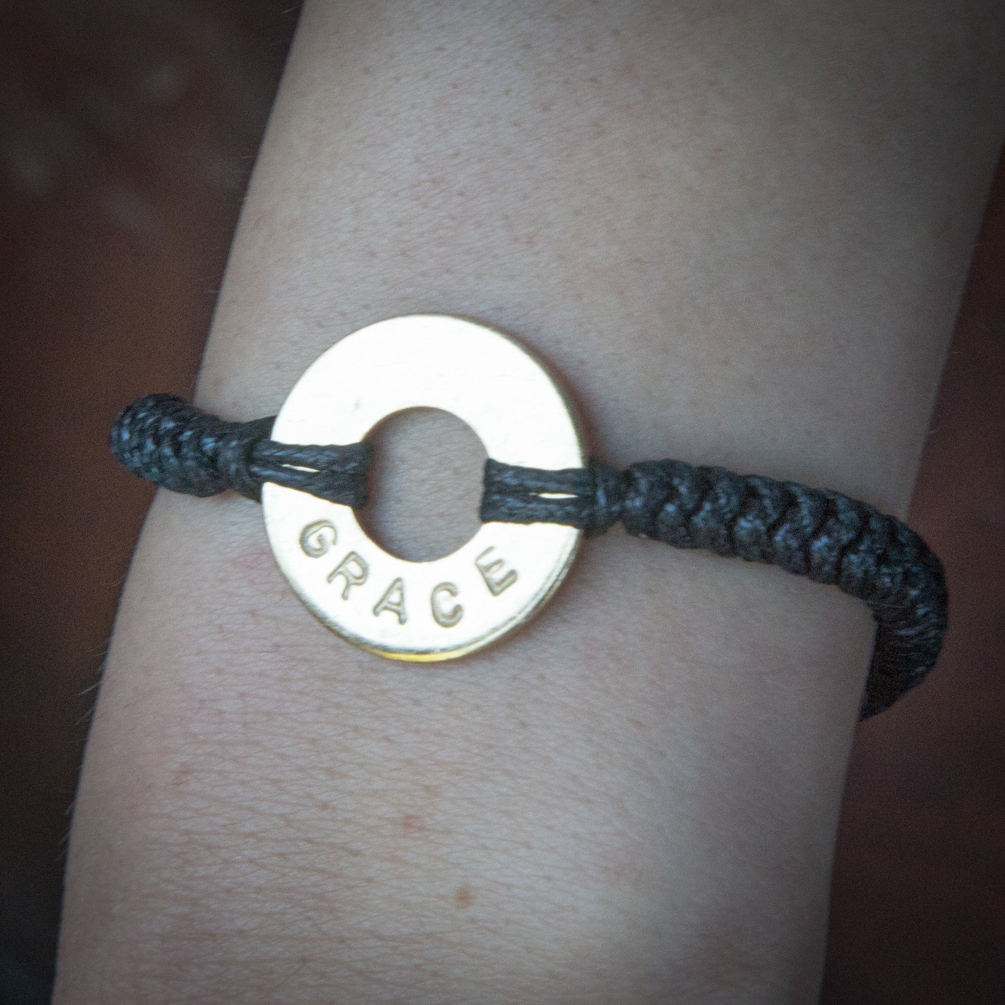 MyIntent Custom Round Bracelet Silver Token Black String with word GRACE
