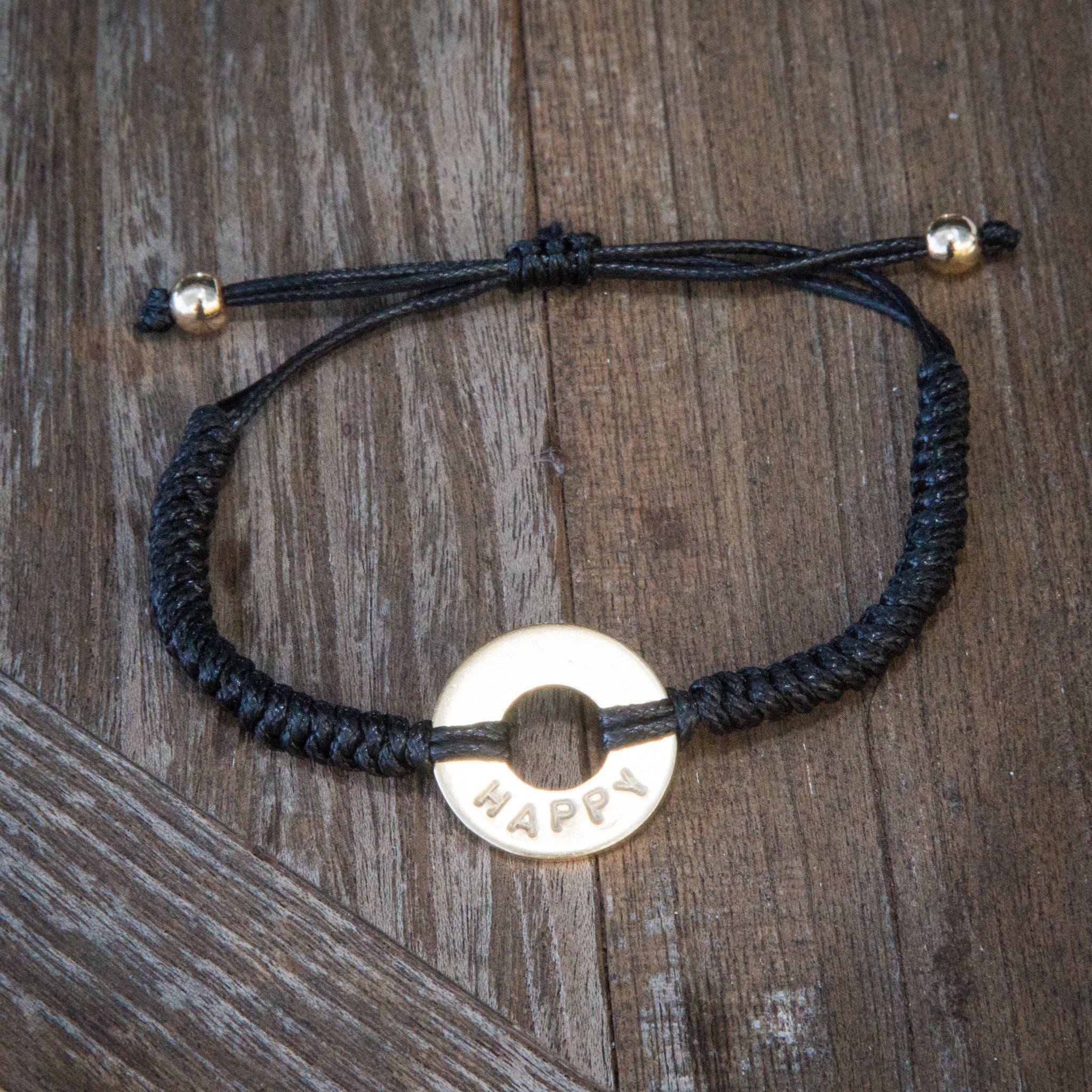 MyIntent Custom Round Bracelet Silver Token Black String and stainless steel beads with word HAPPY