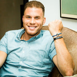 NBA player Blake Griffin wearing his MyIntent Custom Round Bracelet with Blue String