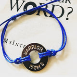 MyIntent Custom Classic Bracelet Awareness Edition in Blue with words WARRIOR MOM & ribbon symbol