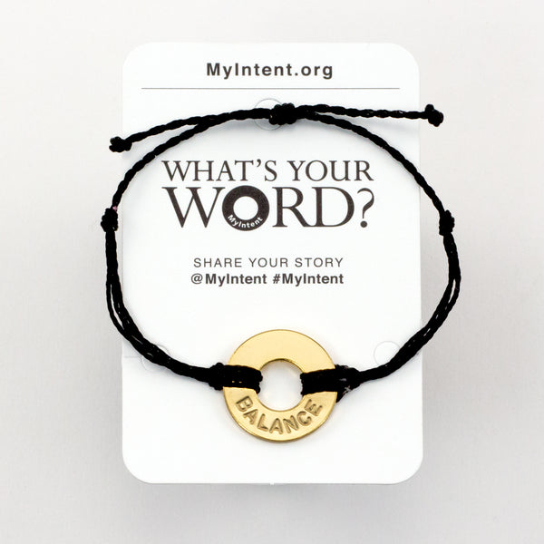 MyIntent Popular Word Twist Bracelet Black String Gold Token with the word BALANCE