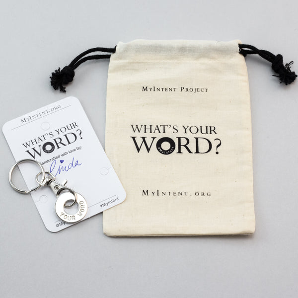 MyIntent Custom Clasp Keychain arrives wrapped on a card with Packaging Bag