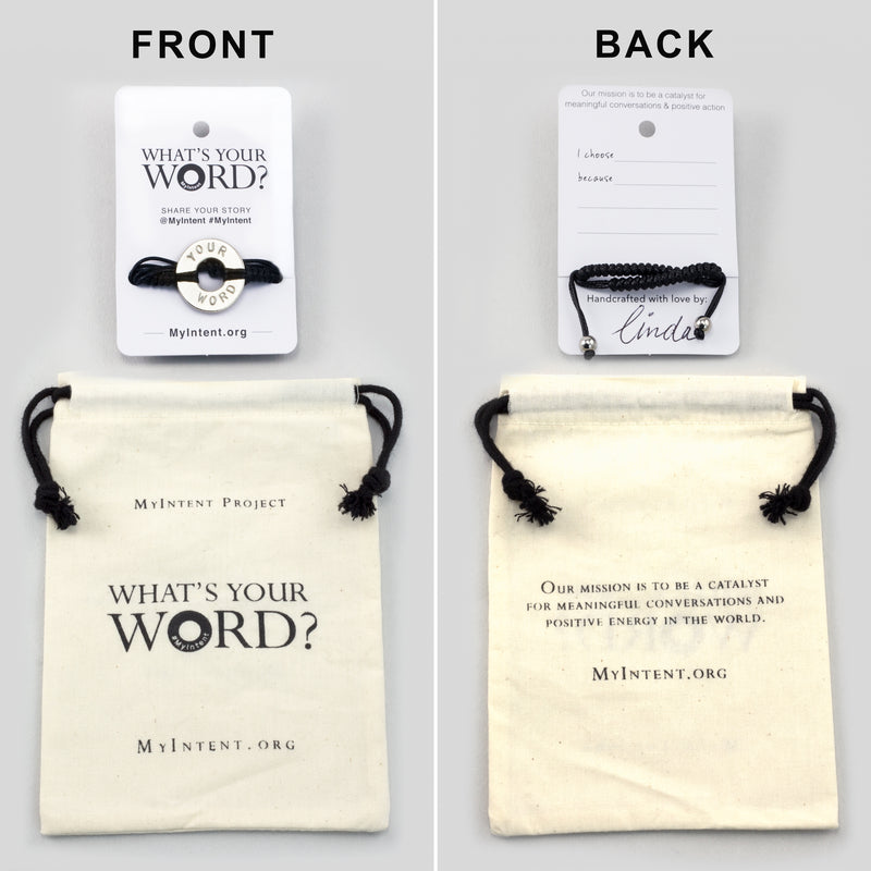 MyIntent Custom Round Bracelet arrives wrapped around a card with Packaging Bag