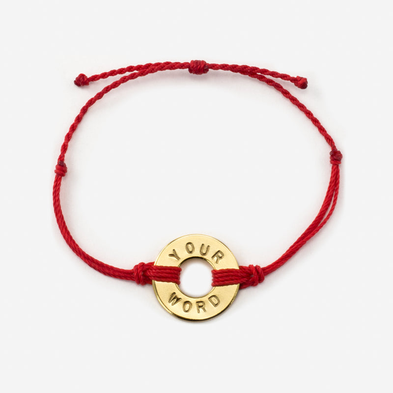 MyIntent Custom Twist Bracelet Red String with Gold Token