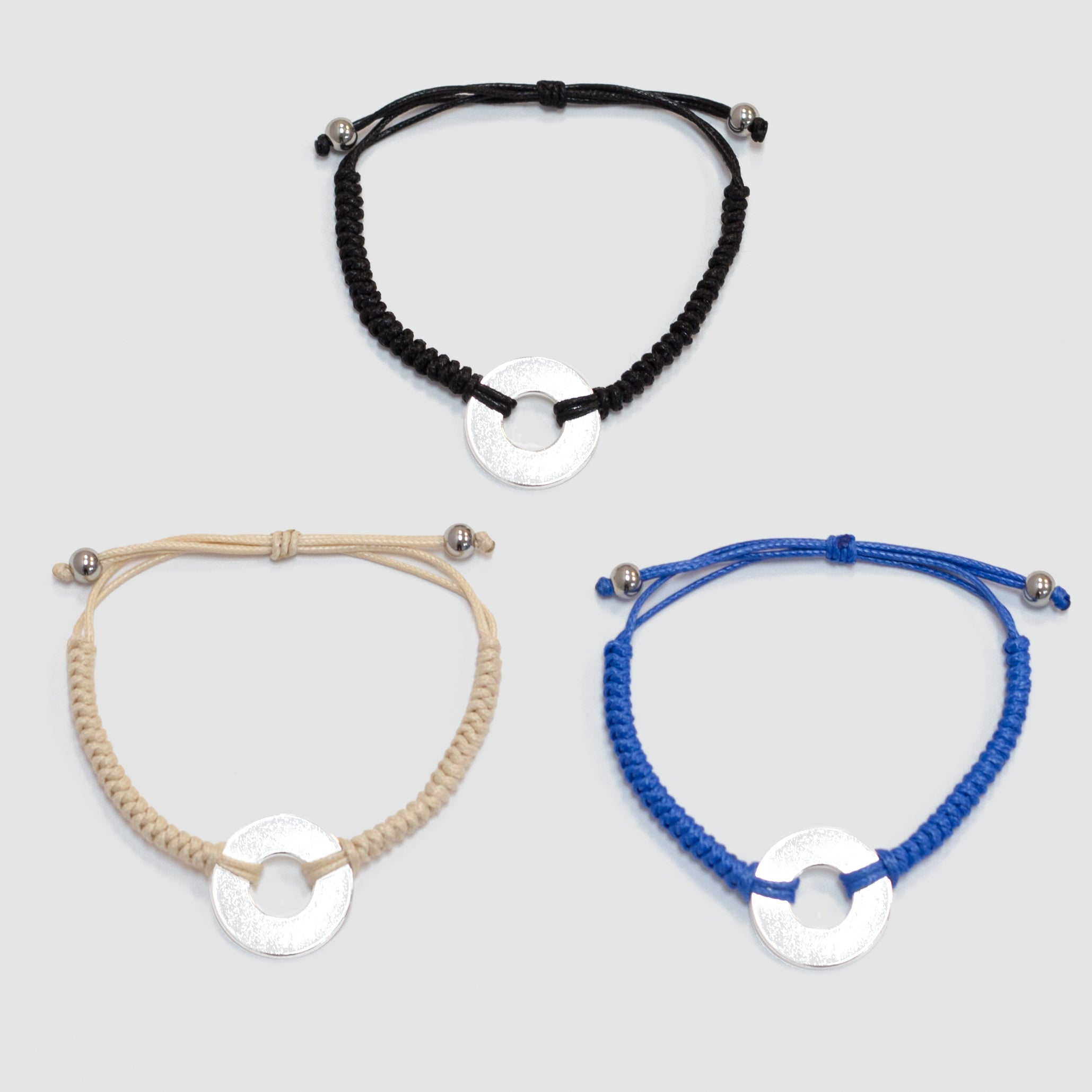 MyIntent Refill Round Bracelets in Black, Blue, and Cream with Silver Tokens