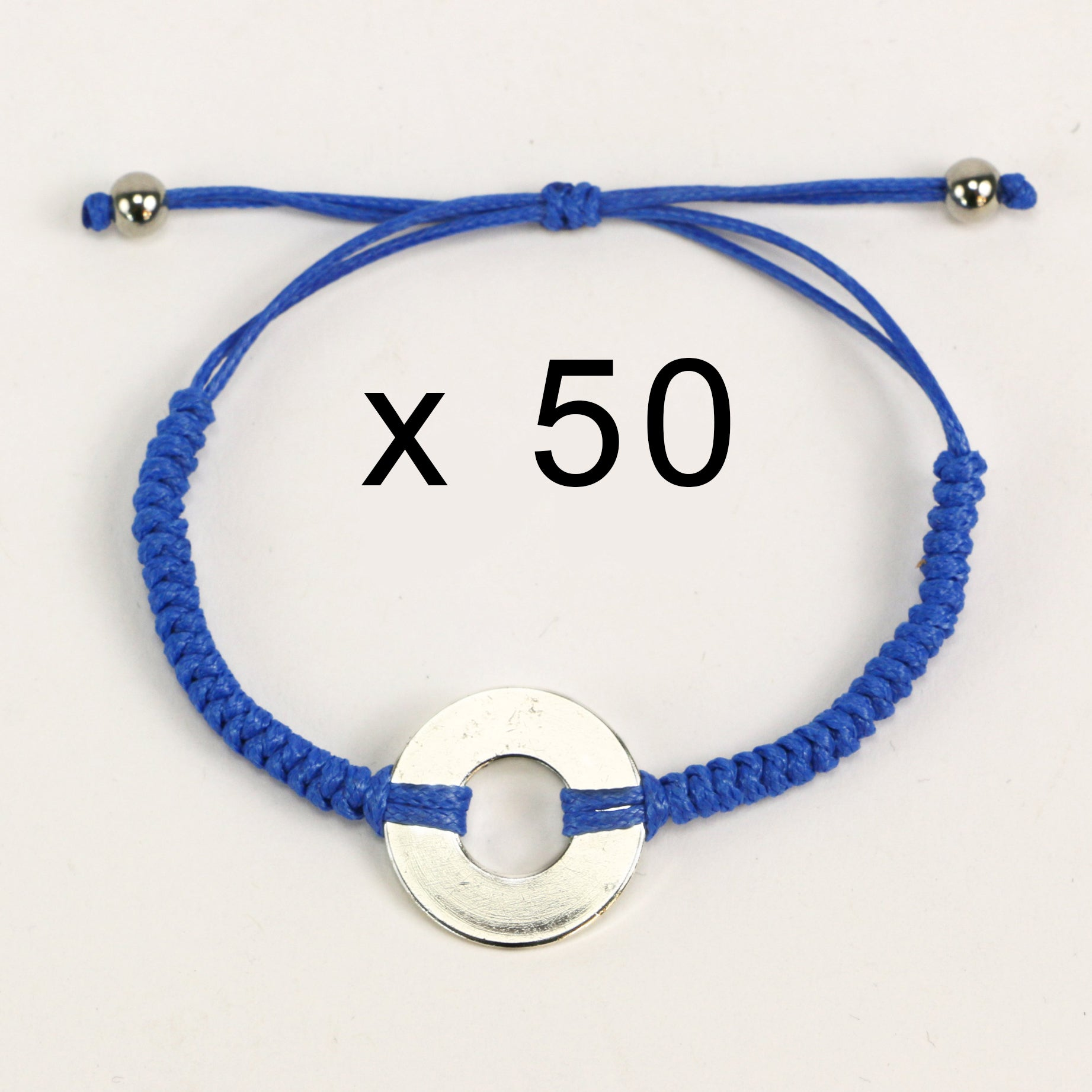 MyIntent Refill Round Bracelets set of 50 in Blue with Silver Tokens
