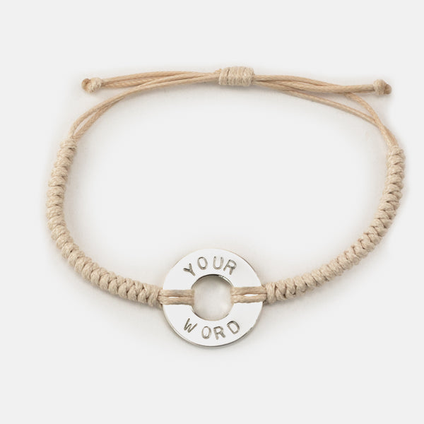 MyIntent Closeout Custom Round Bracelet without Beads in Cream color with Silver Plated Token