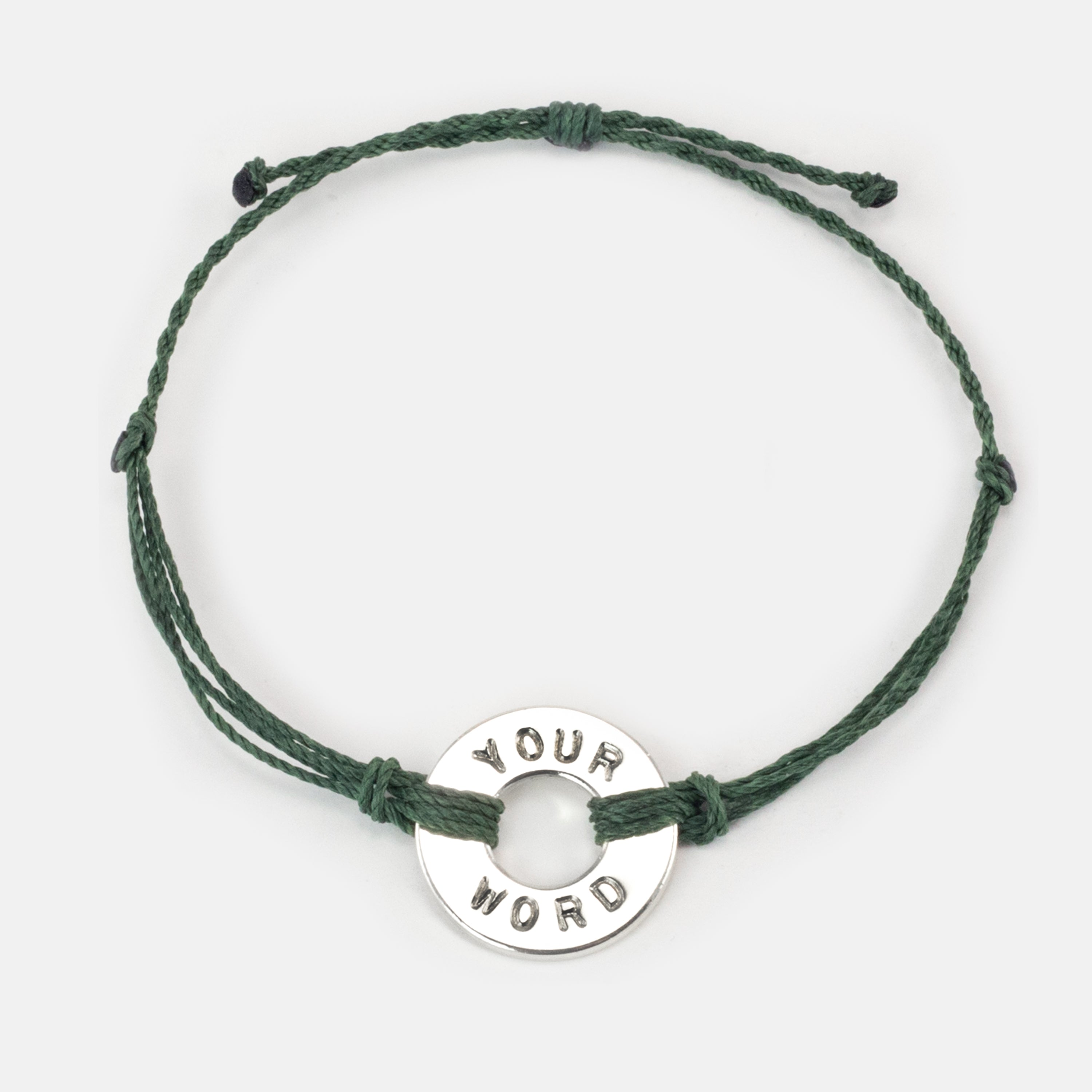 MyIntent Custom Twist Bracelet Forest Green String with Silver Token