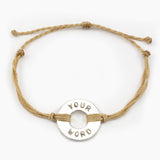 MyIntent Custom Twist Bracelet Cream color String with Silver Token