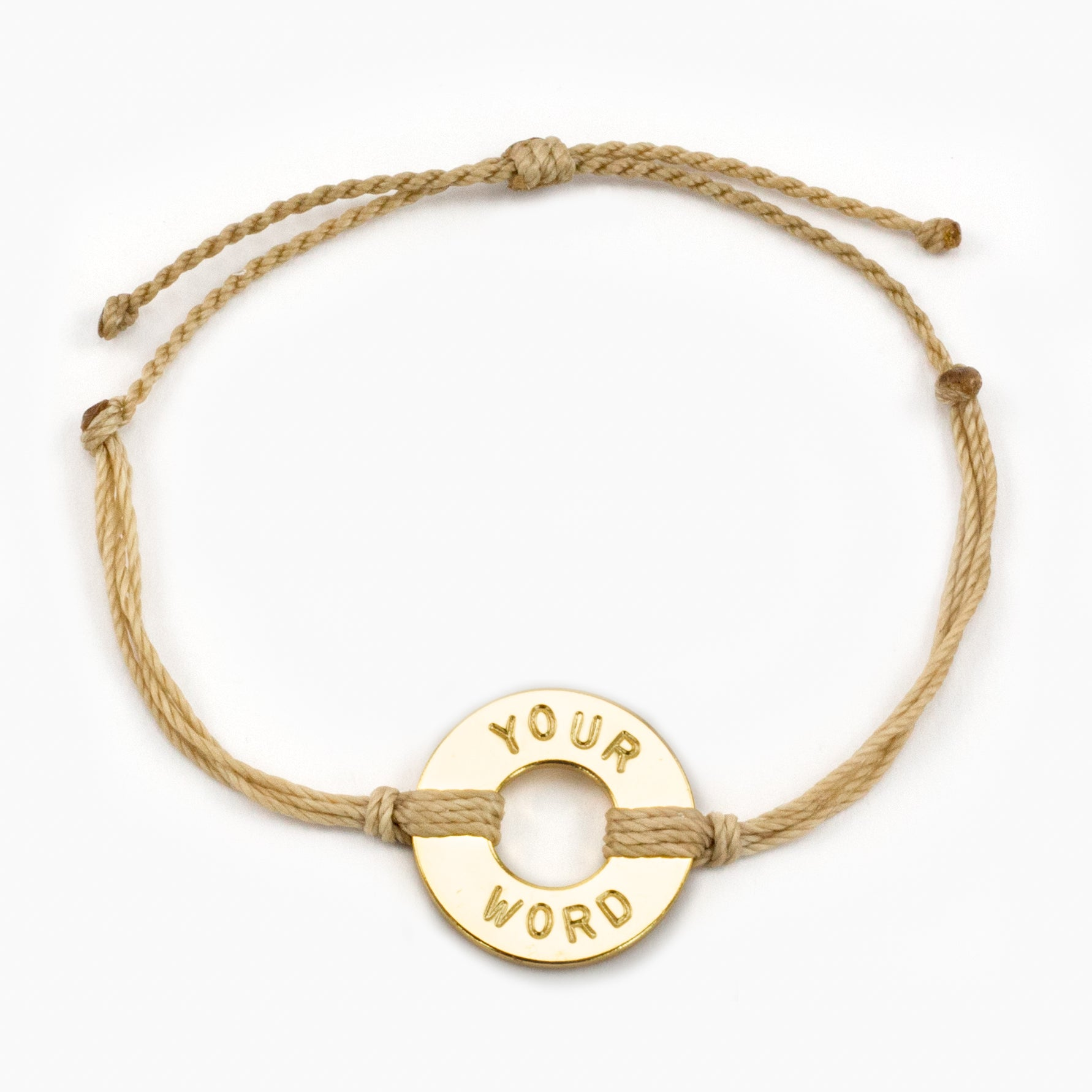 MyIntent Custom Twist Bracelet Cream color String with Gold Token