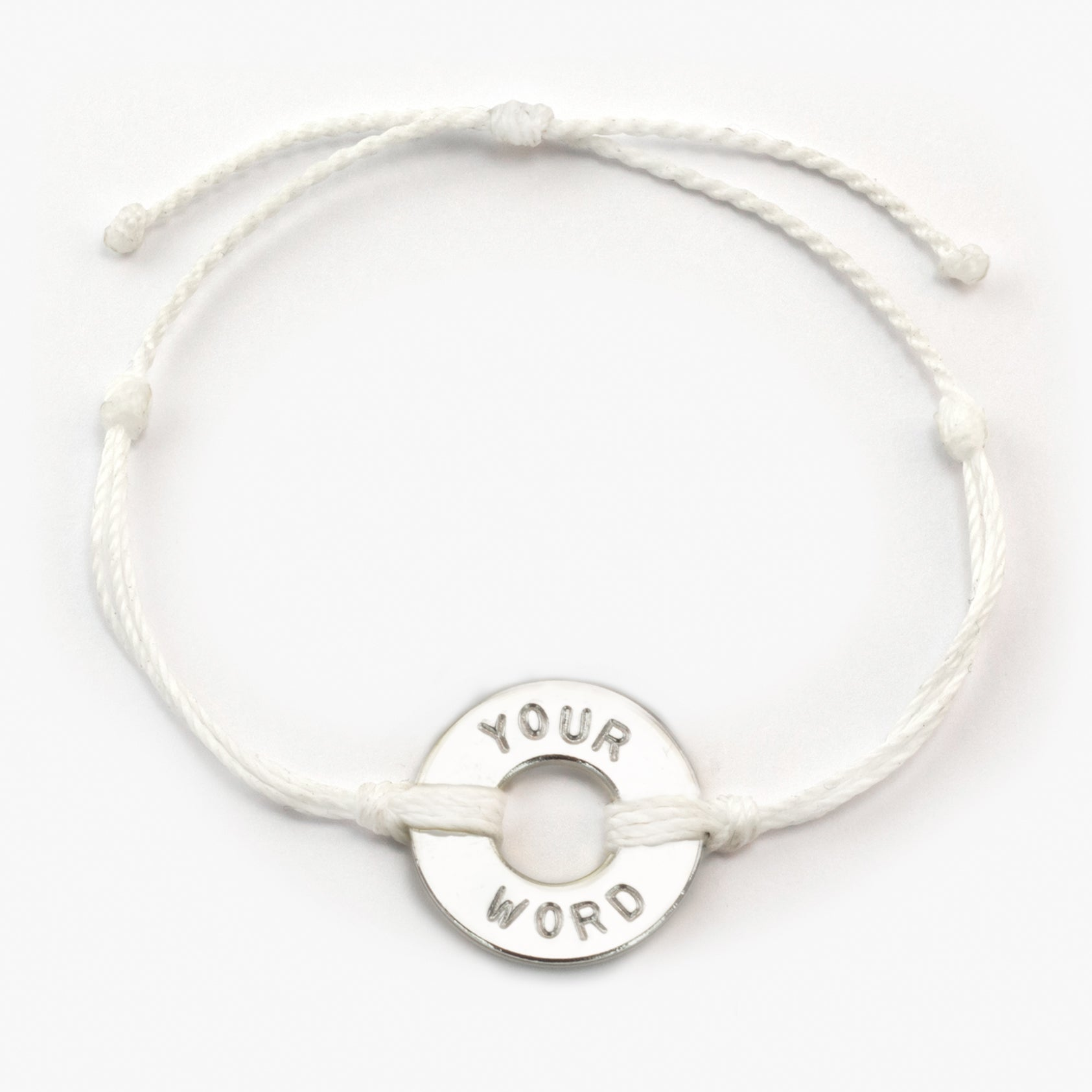 MyIntent Custom Twist Bracelet White String with Silver Token