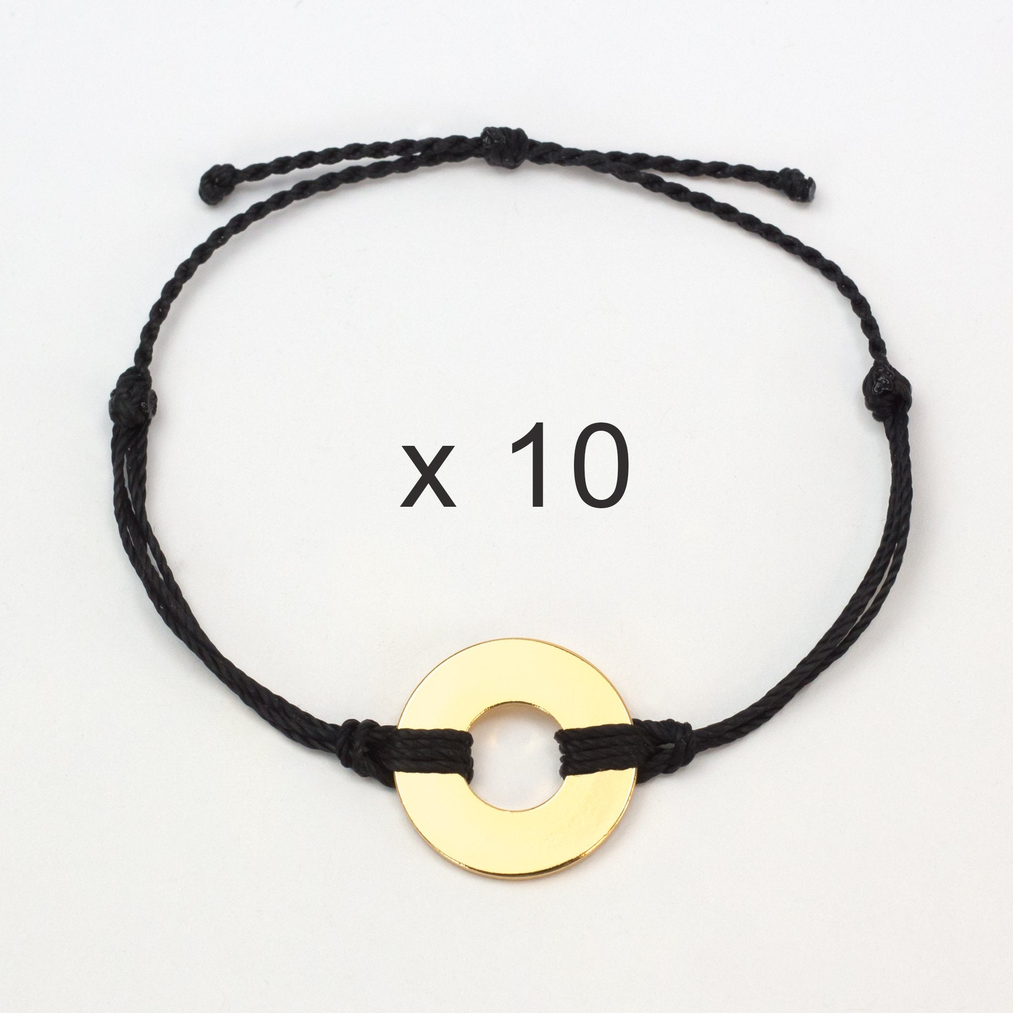 MyIntent Refill Twist Anklets set of 10 Black String with Gold Tokens