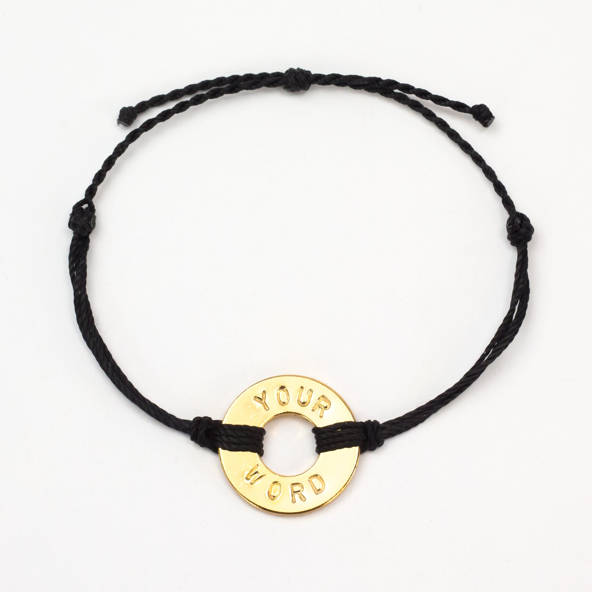 MyIntent Custom Twist Bracelet Black String with Gold Token