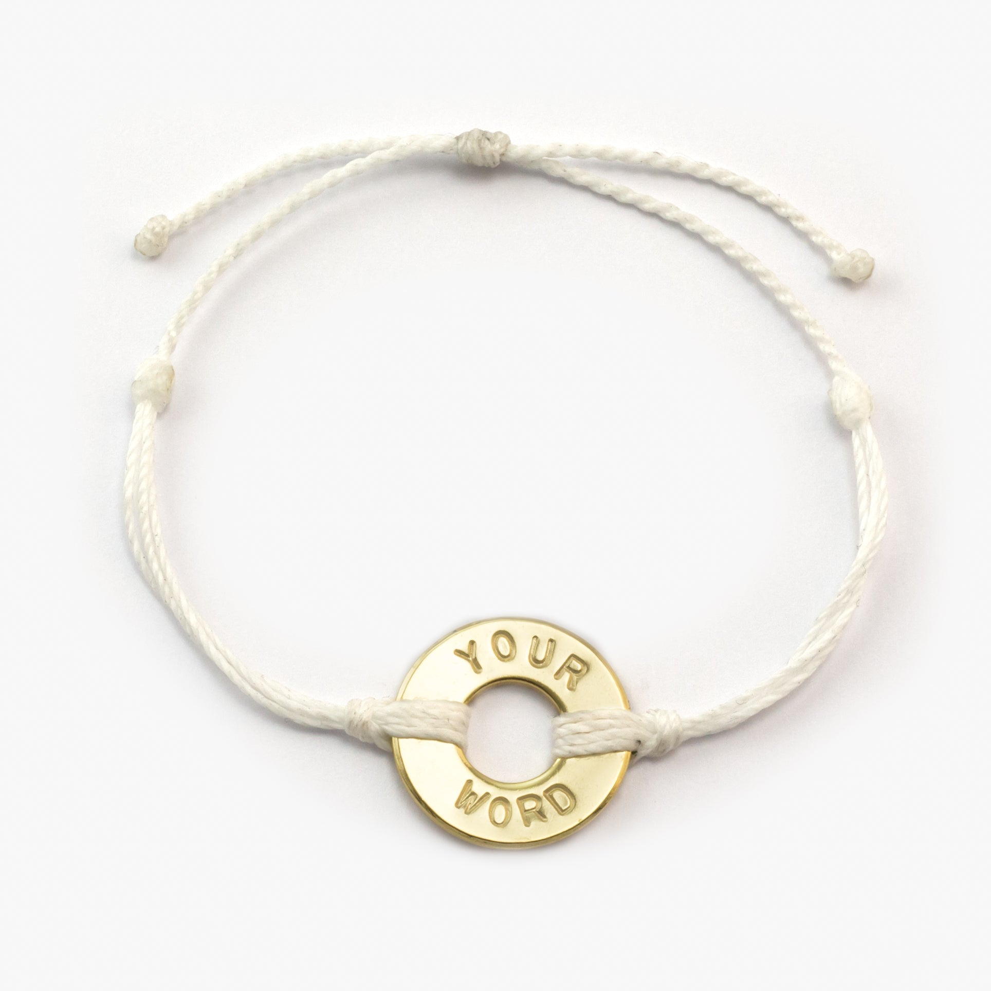 MyIntent Custom Twist Bracelet White String with Gold Token