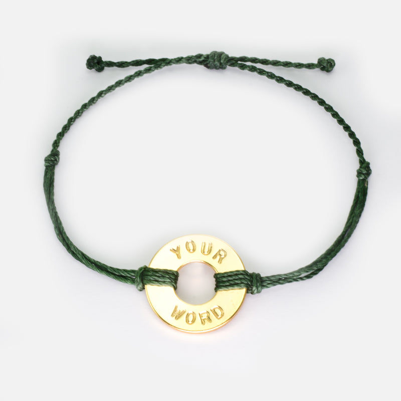MyIntent Custom Twist Bracelet Forest Green String with Gold Token