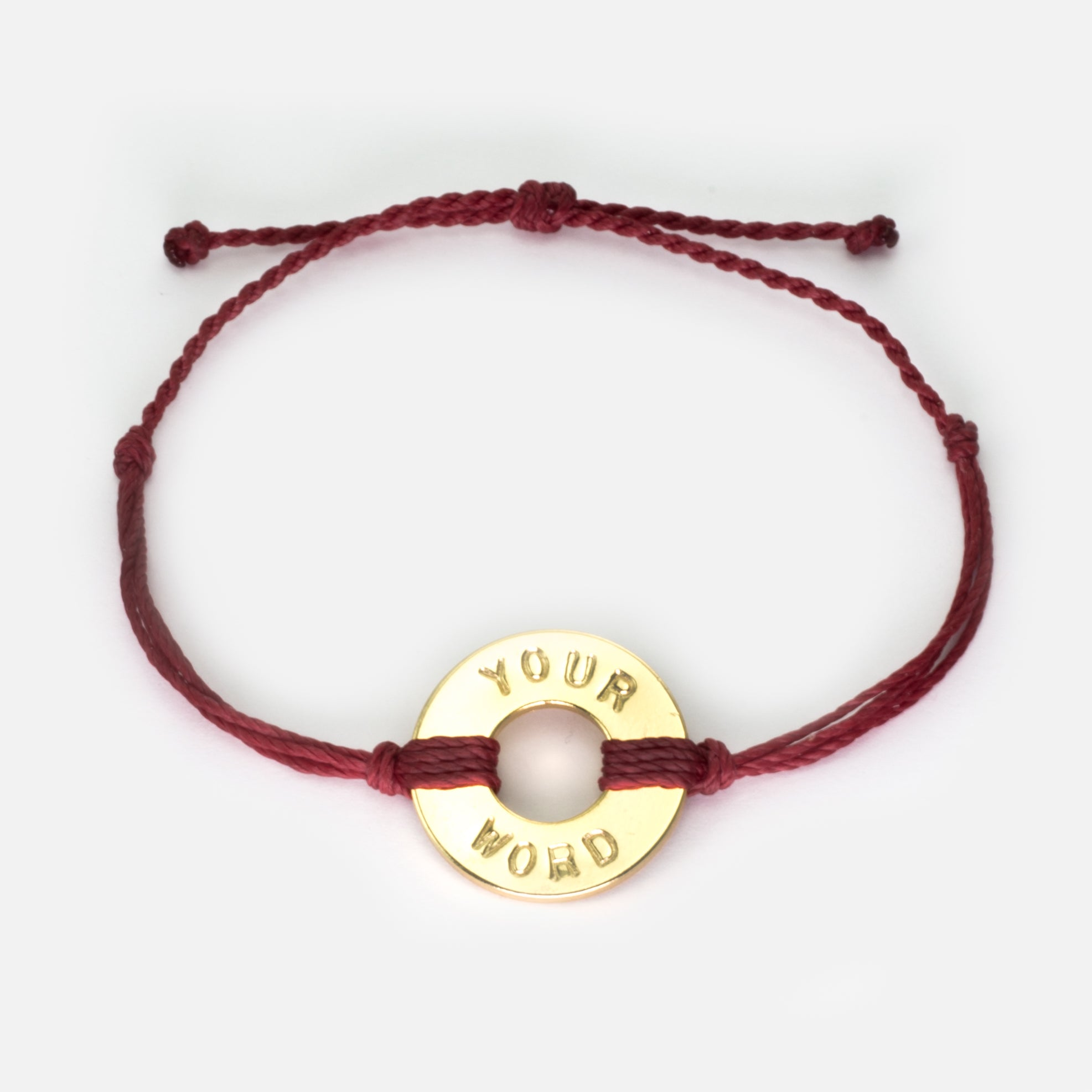 MyIntent Custom Twist Bracelet Burgundy String with Gold Token