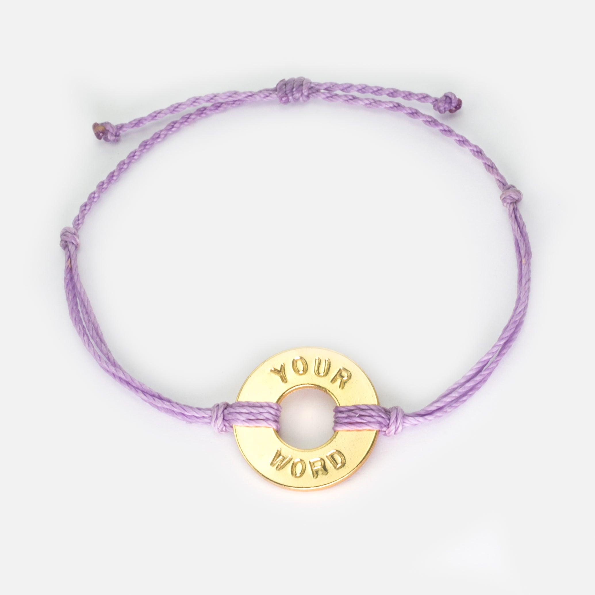MyIntent Custom Twist Bracelet Lavender String with Gold Token