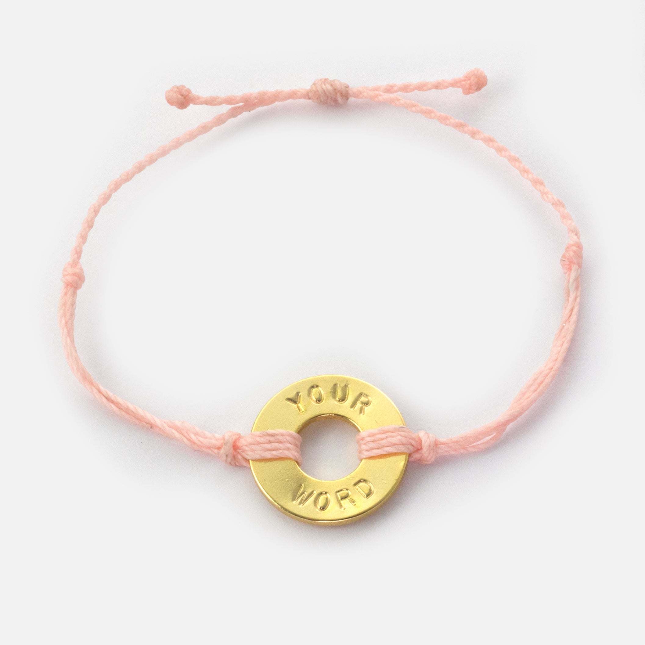 MyIntent Custom Twist Bracelet Light Pink String with Gold Token