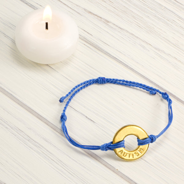 MyIntent Custom Twist Bracelet Awareness Edition Blue string Brass Token with the word AUTISM