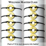 MyIntent Wellness Pack of 10 Classic Black String Bracelets each with unique words with Brass Token