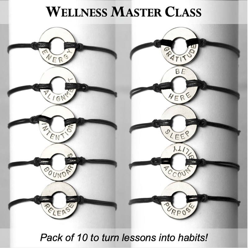 MyIntent Wellness Pack of 10 Classic Black String Bracelets each with unique words with Nickel Token