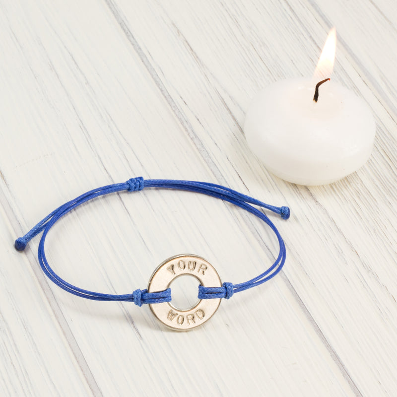 MyIntent Custom Classic Bracelet Awareness Edition Blue string with a Nickel Token
