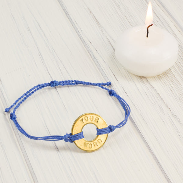 MyIntent Custom Twist Bracelet Awareness Edition Blue string with a Brass Token