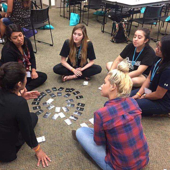 A group of friends sharing stories while engaging in an activity based off of the MyIntent Cards