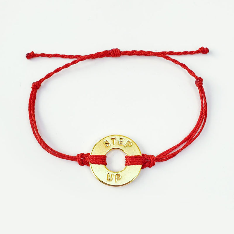 MyIntent Custom Twist Bracelet Red String Gold Plated Token with the words STEP UP