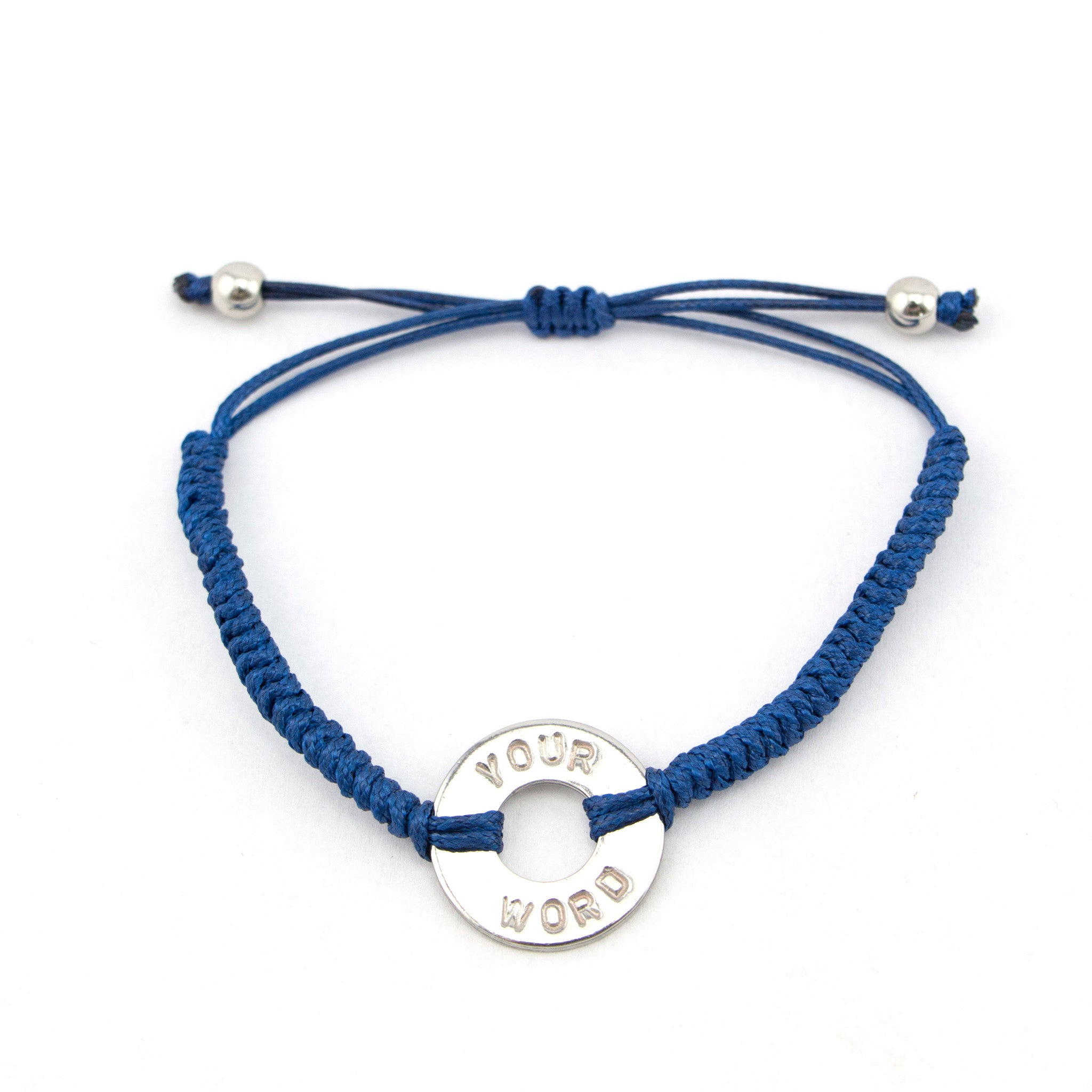 MyIntent Custom Round Bracelet Silver Token with Blue String and stainless steel beads