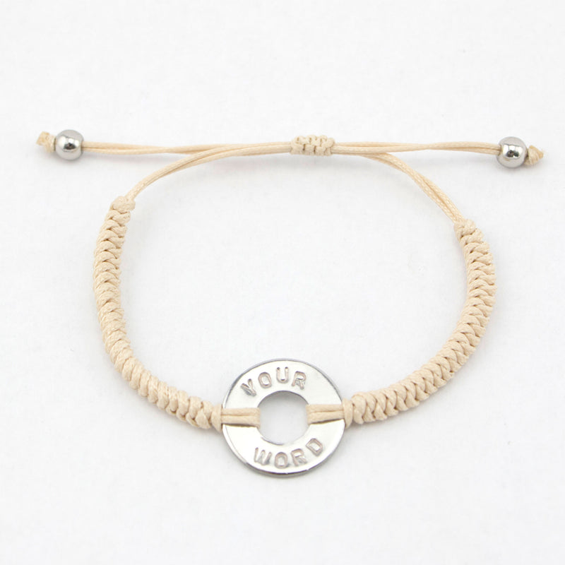 MyIntent Custom Round Bracelet Silver Token with Cream color String and stainless steel beads