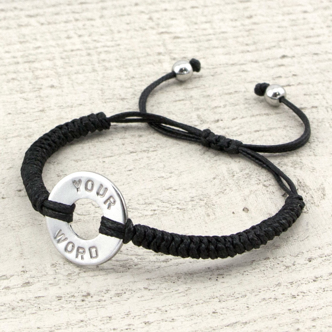 MyIntent Custom Round Bracelet Silver Token with Black String and stainless steel beads