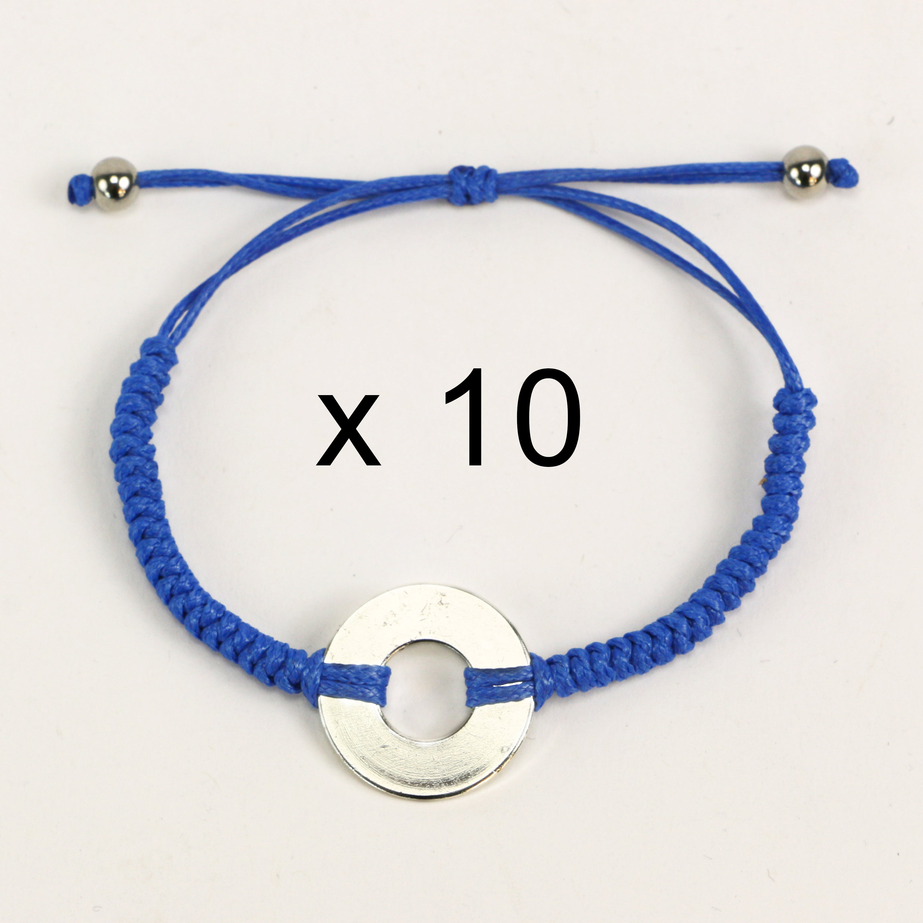 MyIntent Refill Round Bracelets set of 10 in Blue with Silver Tokens