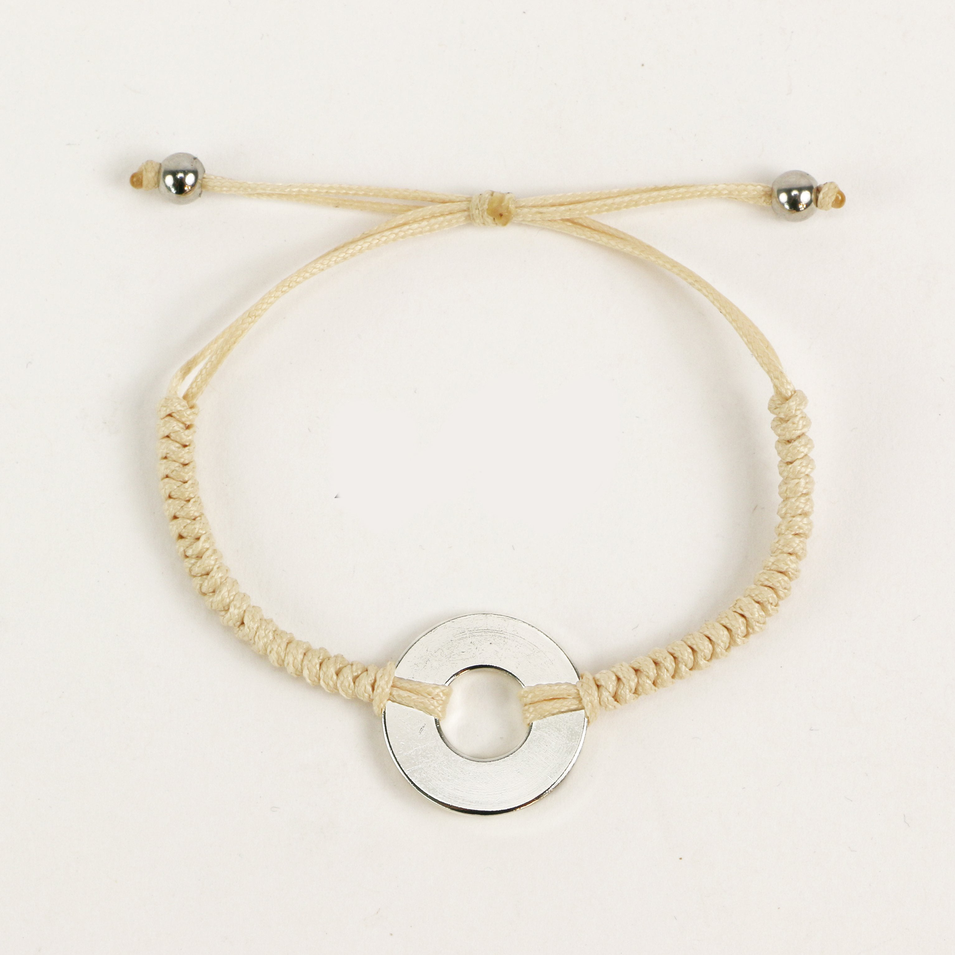 MyIntent Refill Round Bracelet Cream color with Silver Token