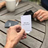 "Friends using their MyIntent Question Cards with the question ""Who are your heroes?"""