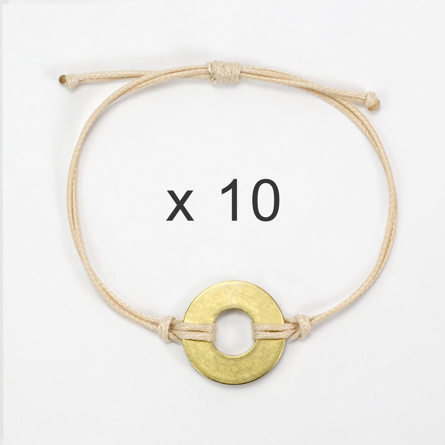 MyIntent Refill Classic Bracelets Cream String set of 10 with Brass tokens