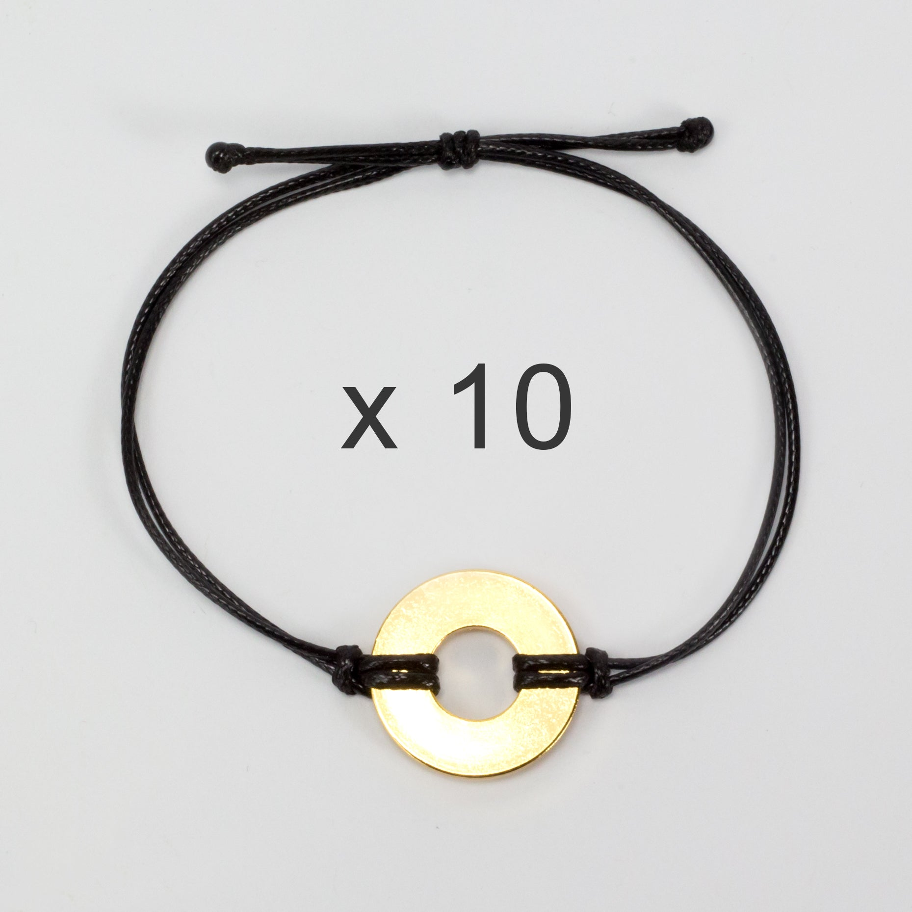 MyIntent Refill Classic Bracelets Black String set of 10 with Brass tokens