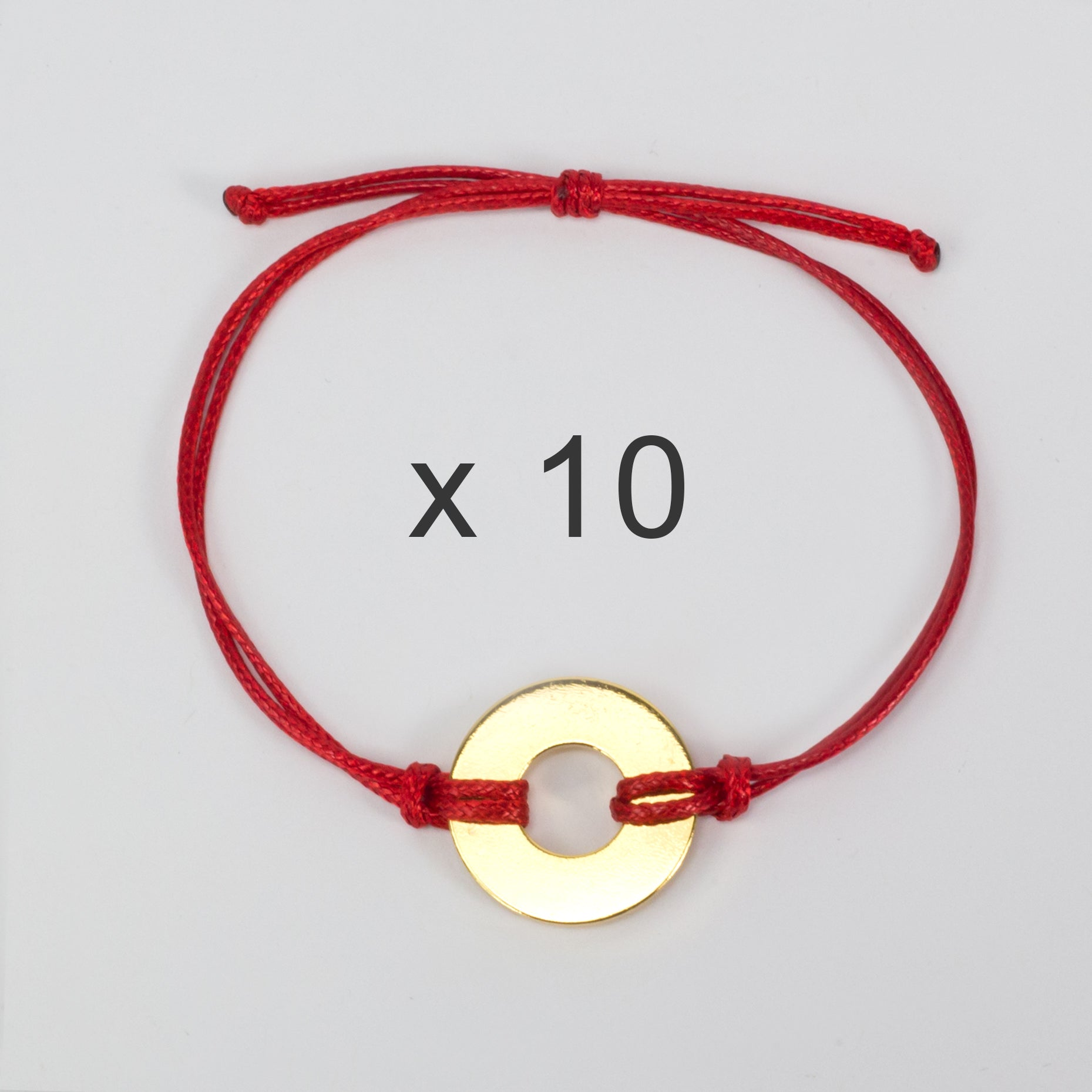 MyIntent Refill Classic Bracelets Red String set of 10 with Brass tokens