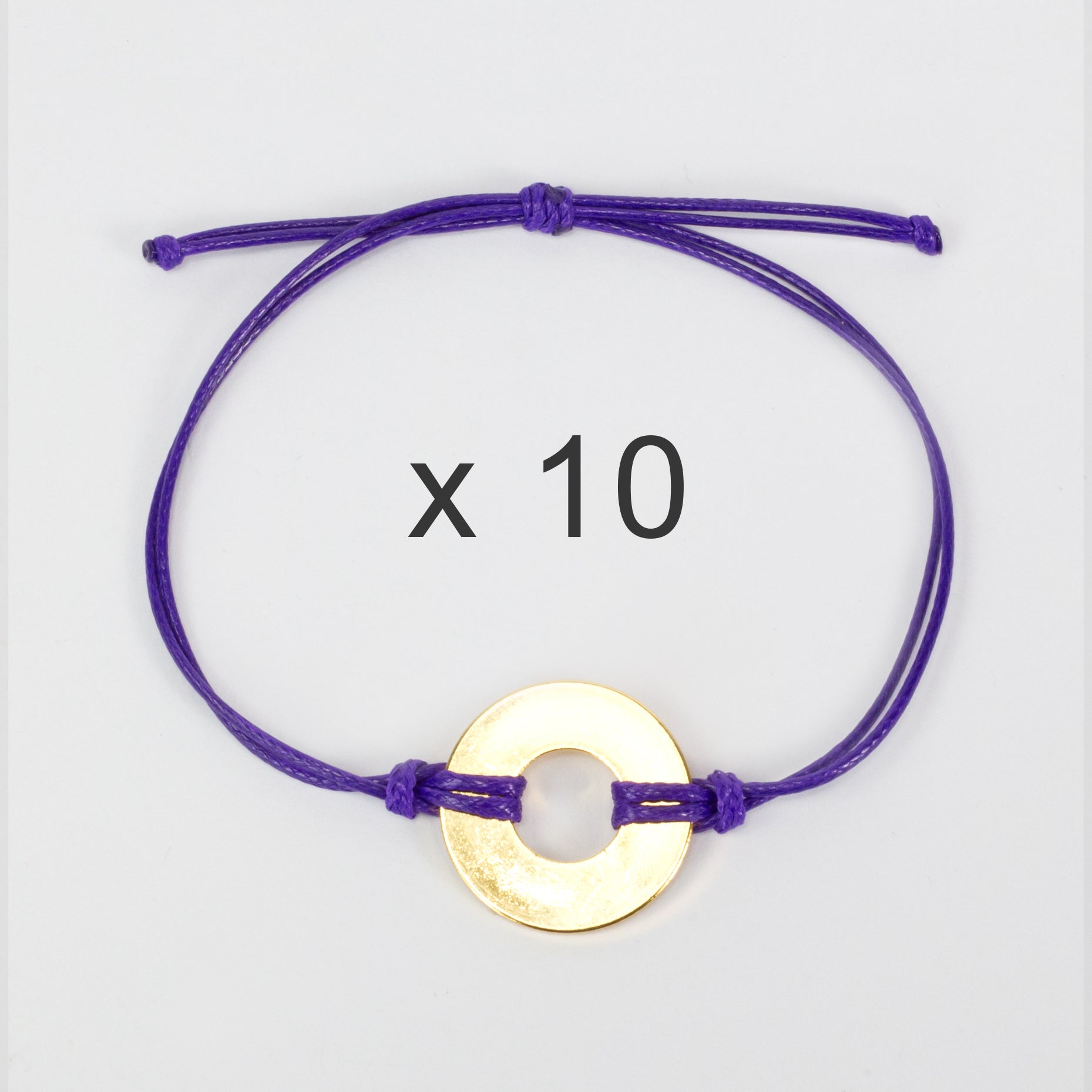 MyIntent Refill Classic Bracelets Purple String set of 10 with Brass tokens