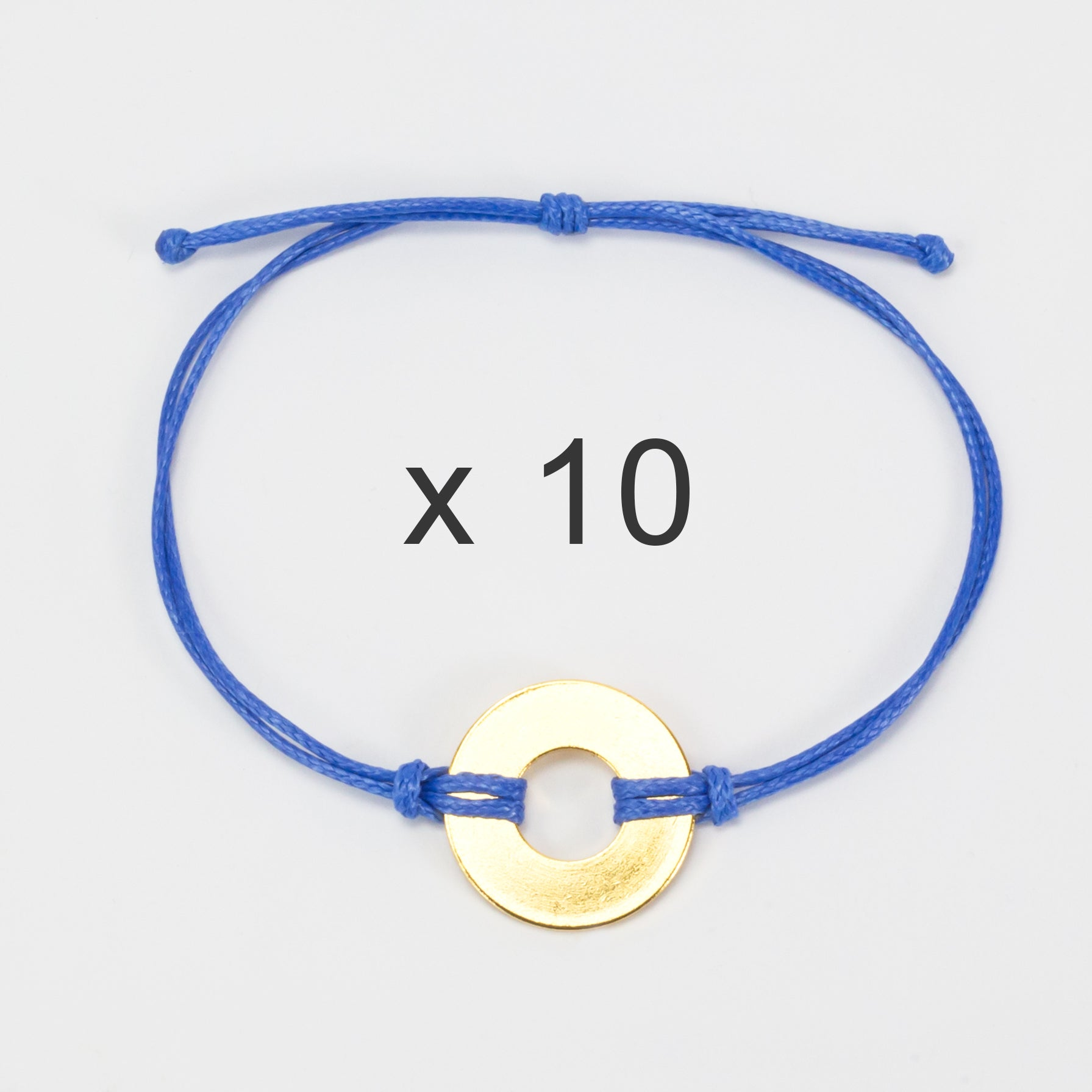 MyIntent Refill Classic Bracelets Blue String set of 10 with Brass tokens