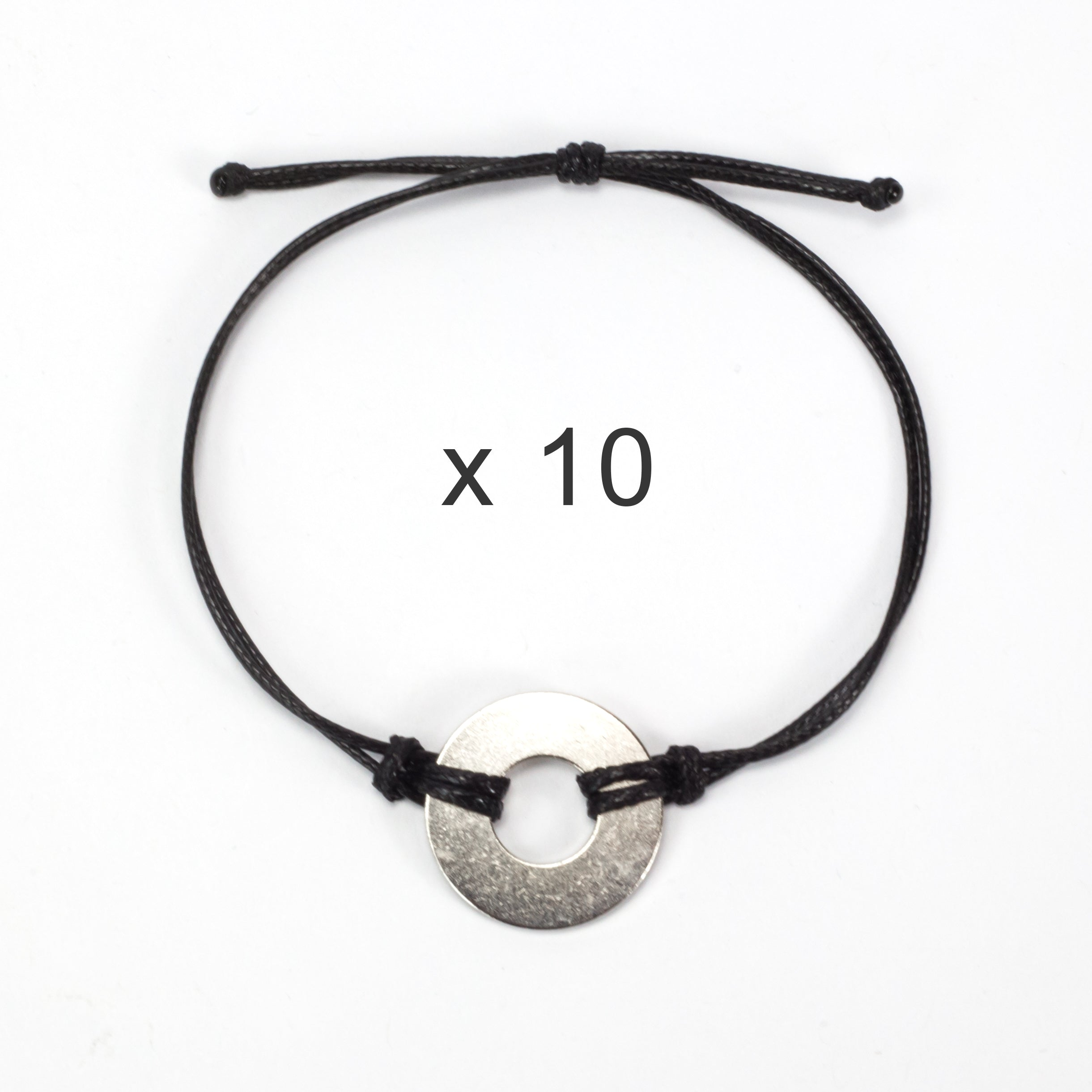 MyIntent Refill Classic Bracelets Black String set of 10 with Nickel tokens