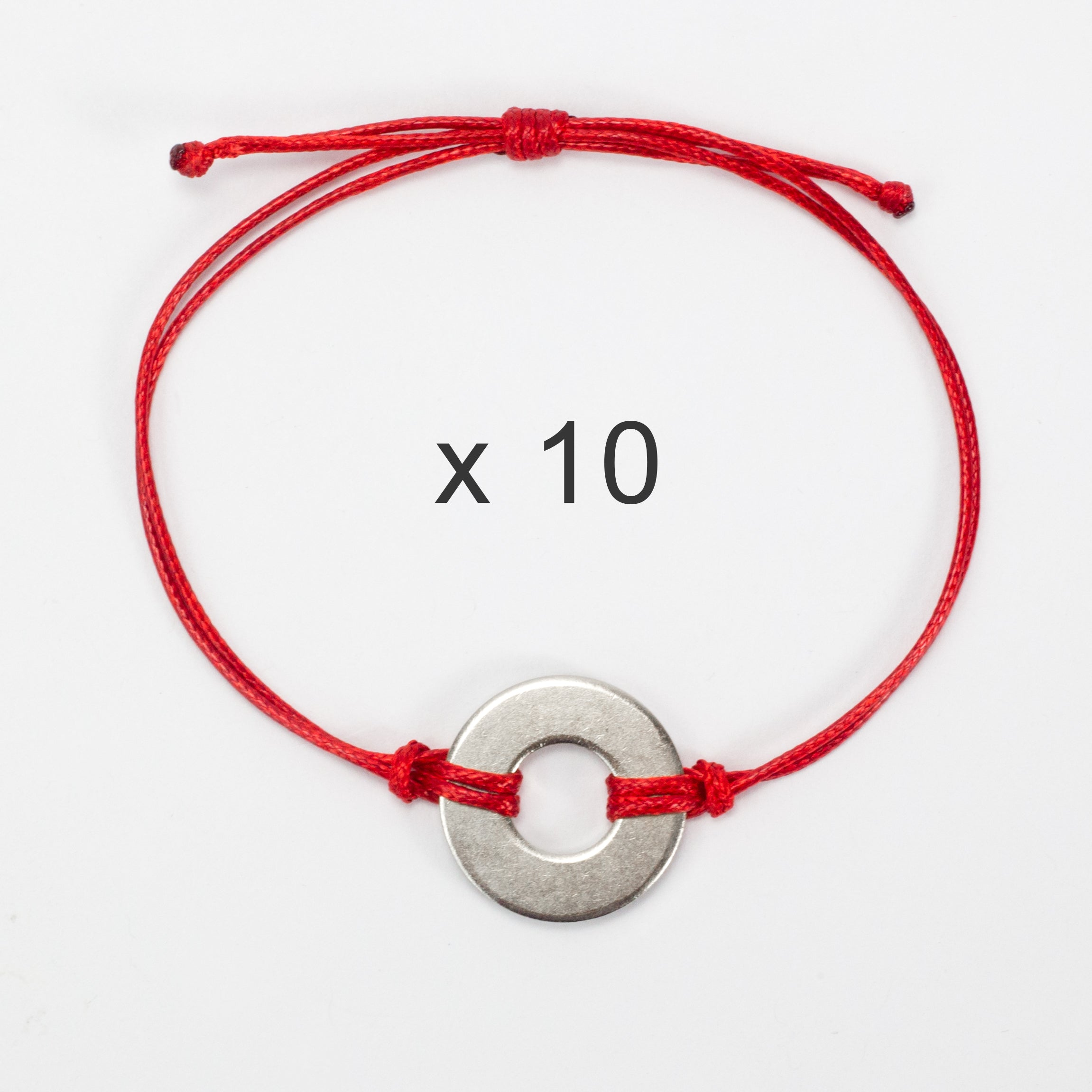 MyIntent Refill Classic Bracelets Red String set of 10 with Nickel tokens